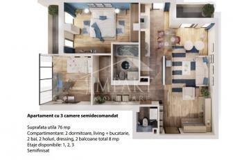 Apartament de vanzare 3 camere  in Cluj Napoca -  Andrei Muresanu