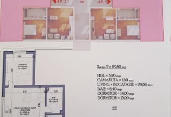 De Vanzare 3 camere  in constructie noua, parcare, 70 mp, semidecomandat in Floresti, Floresti