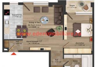 Apartament 2 camere de vanzare in Cluj, zona Buna-Ziua, 61300 eur