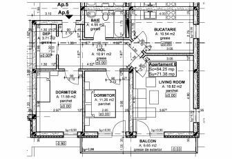 De Vanzare apartament 3 camere  in constructie noua, 60 mp, decomandat, etaj 3/3 in Floresti, Floresti