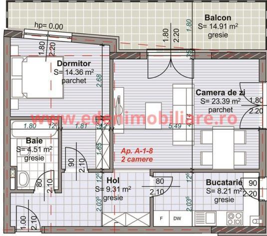 Apartament 2 camere de vanzare in Cluj, zona Semicentral, 1300 eur