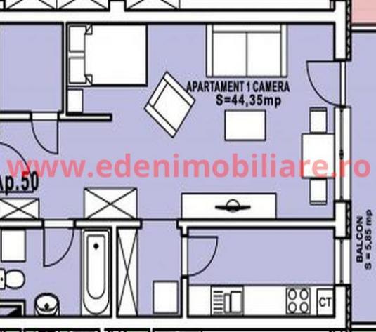 Apartament 1 camera de vanzare in Cluj, zona Calea Turzii, 47340 eur