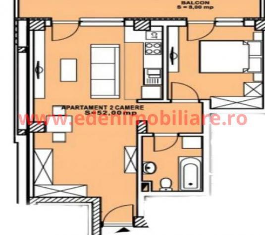 Apartament 2 camere de vanzare in Cluj, zona Calea Turzii, 62400 eur