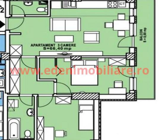 Apartament 3 camere de vanzare in Cluj, zona Calea Turzii, 79680 eur