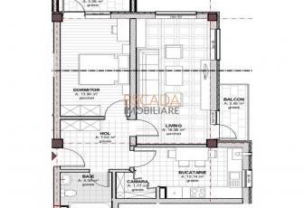 Vanzare apartament 2 camere, 56 mp, zona Baciu