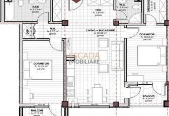 Vanzare apartament 3 camere, 76 mp, zona Baciu