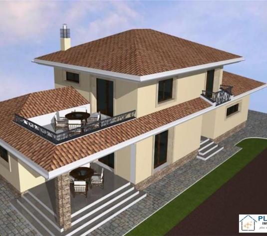 Casa in stil mediteranean, 300 mp, teren 600, vanzare semifinisat