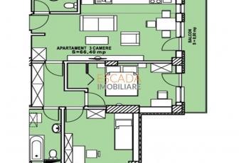 Vanzare apartament 3 camere, 66.40 mp, zona Calea Turzii!
