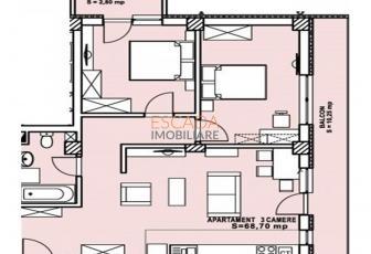 Vanzare apartament 3 camere, 68,70 mp, zona Calea Turzii!
