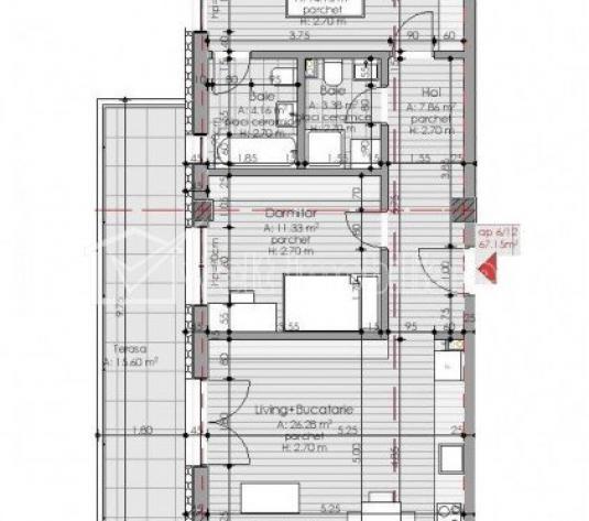 Apartament 3 camere, 16 mp terasa,  la 3 minute de Gheorgheni, zona Borhanci