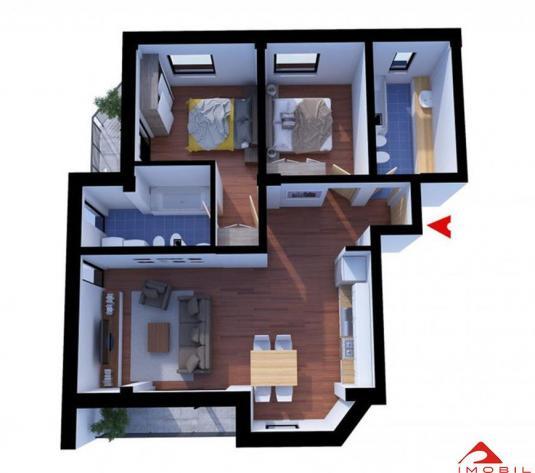 Apartament 3 camere Grigorescu capat Donath, 64 mp utili, semifinisat