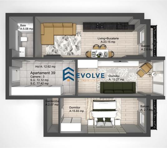 Apartament decomandat 3 camere Copou