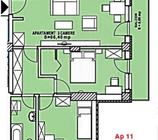 Apartament cu 3 camere de vanzare in Buna Ziua