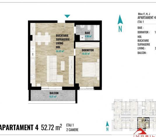 Apartament 2 camere Europa, 53 mp utili, semifinisat, plata cash