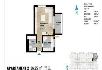 Apartamente 1 camera,suprafete intre 34 si 51 mp, Calea Turzii