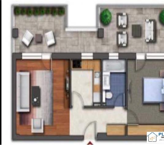 Apartament 2 camere, terasa 27 mp, - imagine 1