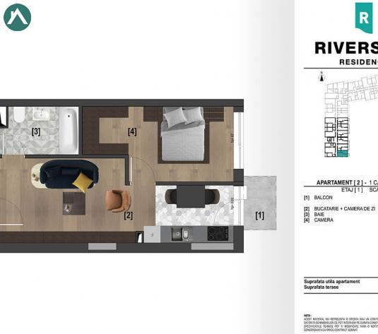 Apartamente 1 camera - 66500 EURO - imagine 1