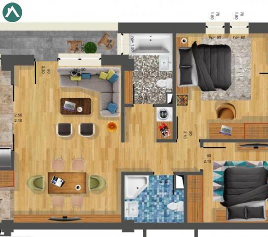 Apartament cu 3 cam, suprafata 75 mp, decomandat cu CF  - imagine 1