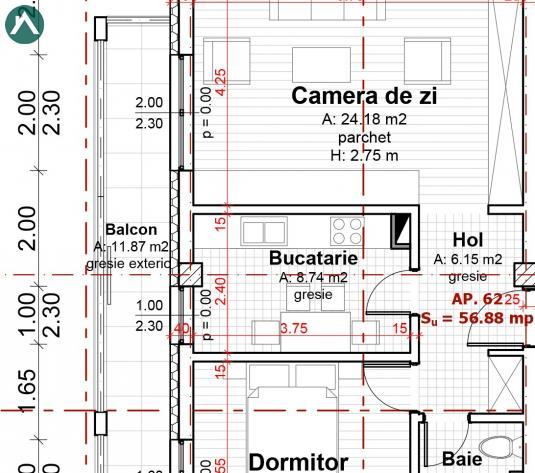 Apartament 2 camere 57 mp, balcon 12 mp,et3 cartier Europa - imagine 1