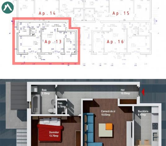 Ap.2 camere 58 mp,dec.et.2, balcon 8 mp Baciu - imagine 1