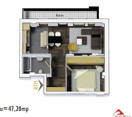 Apartament 2 camere Marasti, 47 mp utili, balcon 8 mp, semifinisat - imagine 1