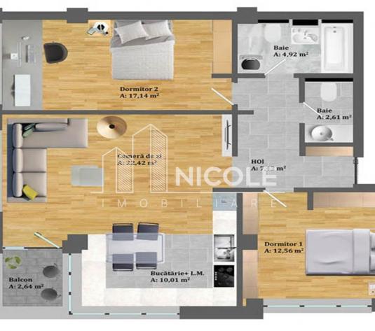 Apartamente 3 camere in zona Petrom Baciu - imagine 1