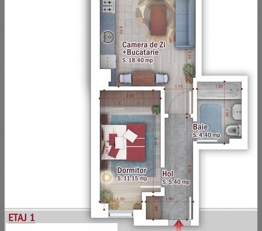 Studio 2 cam 42.3 mp mp - Billa-Carrefour Postavarului - Estimobiliar - imagine 1