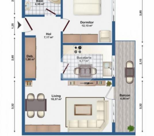 Vanzare Apartament 2 camera, 51 mp, Decomandat, Parcare, zona Str. Eugen Ionesco - imagine 1