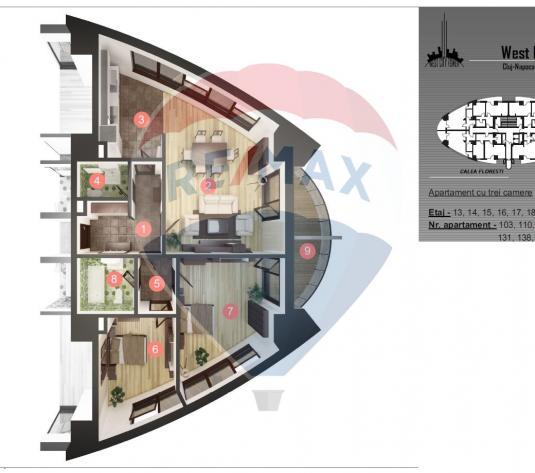 Apartament cu 3 camere, vedere panoramica - imagine 1