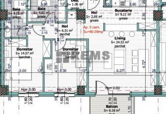 Apartament cu 3 camere in Centru, zona P-ta Mihai Viteazu, 80 mp, termen de predare aprilie 2016