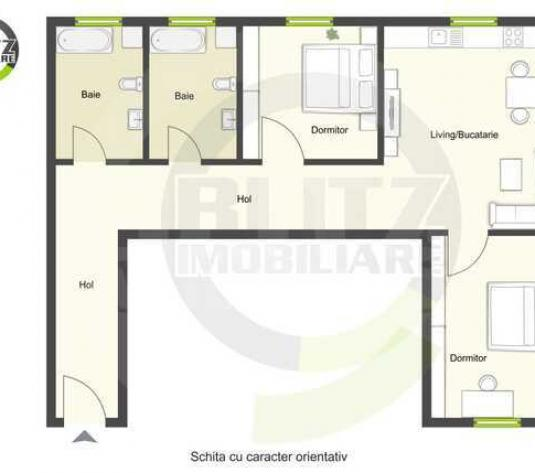 Apartament 3 camere, 77mp utili, gradina 70mp - imagine 1