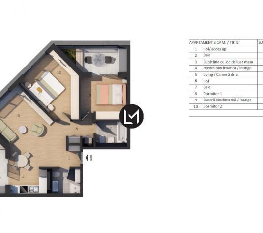 Vanzare 3 camere, incalzire in pardoseala, parcare subterana - imagine 1