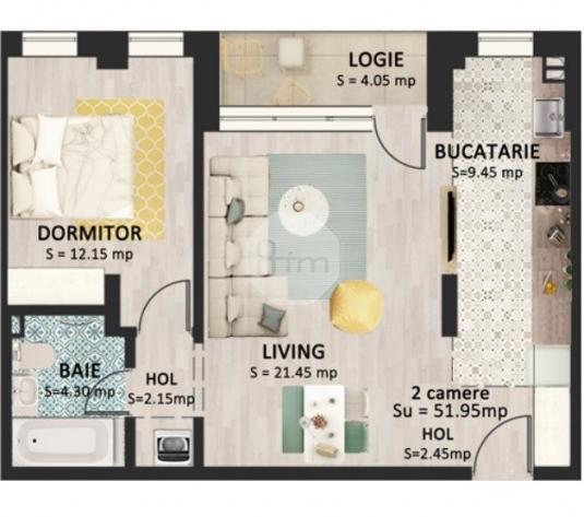 Vanzare Apartament 2 Camere, 52,8 mp, Zona Str. Bucuresti! - imagine 1