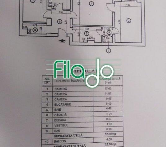 Apartament 3 camere Titan , Piata Salajan - imagine 1