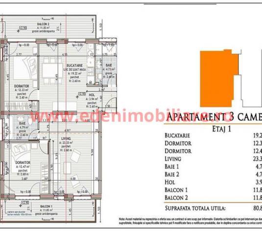 Apartament 3 camere de vanzare in Cluj, zona Zorilor, 111000 eur