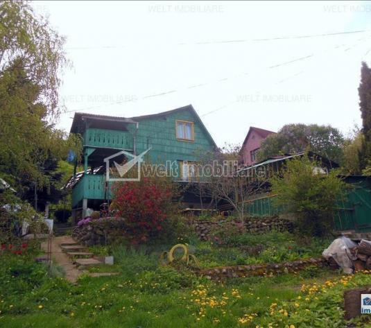 Vanzare casa lemn in Gilau, teren 2800 mp, livada, utilitati, confort, liniste