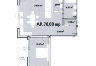 De Vanzare 3 camere  , parcare, 78 mp, semidecomandat, etaj 1/3 in Floresti, Floresti