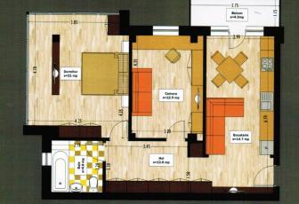 De Vanzare apartament 3 camere  in constructie noua, 67 mp, semidecomandat, etaj 4/4 in Floresti, Floresti
